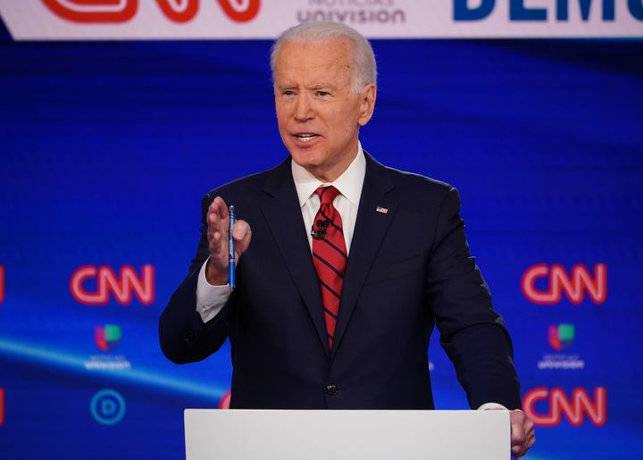Former Vice President Joe Biden, seen here participating in the March 15 debate with Sen. Bernie Sanders (I-Vt.), now faces t