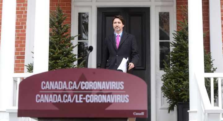 Prime Minister Justin Trudeau addresses Canadians on the COVID-19 pandemic from Rideau Cottage in Ottawa on April 8, 2020.
