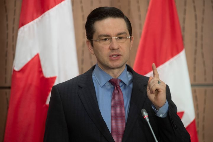 Conservative MP Pierre Poilievre speaks during a news conference in Ottawa on April 8, 2020.