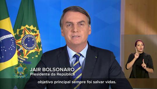 Em pronunciamento, Bolsonaro defende uso da cloroquina e locomoção dos mais