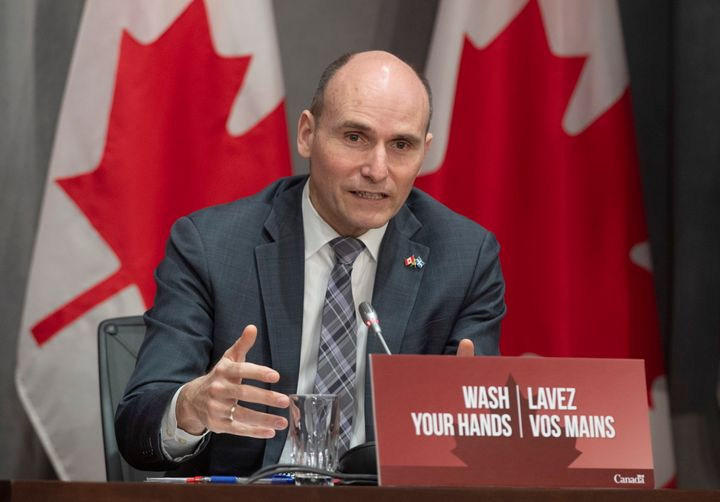 President of the Treasury Board Jean-Yves Duclos responds to a question during a news conference in Ottawa on April 8, 2020.