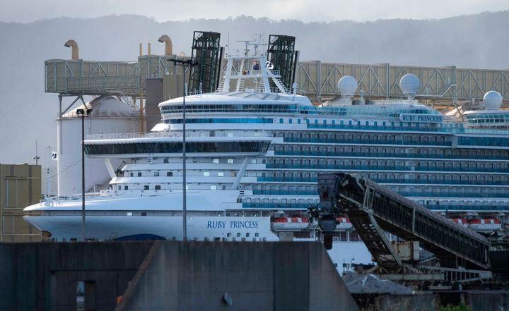 The Princess cruise ship, Ruby Princess, berthed inside Port Kembla dock after being held by authorities due to COVID-19 outbreak on April 6, 2020 in Port Kembla, NSW, Australia.