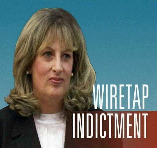 Linda Tripp headshot on gradient, lettering WIRETAP INDICTMENT, finished