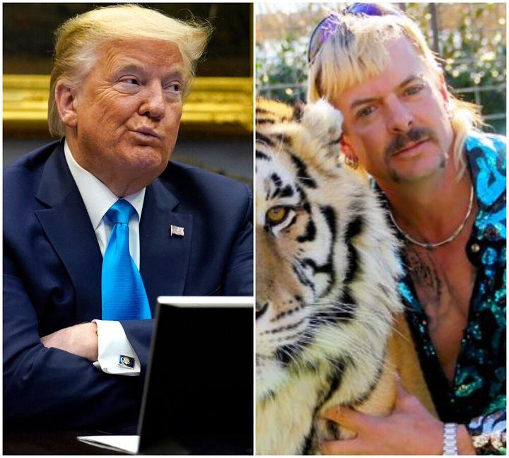 Donald Trump andTiger King star Joe Exotic.