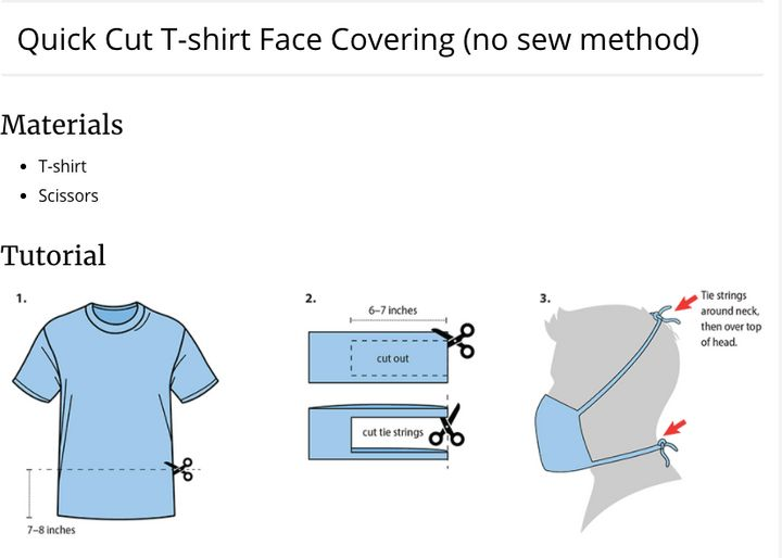 How To Make A Coronavirus Face Mask Out Of T Shirt Huffpost Life