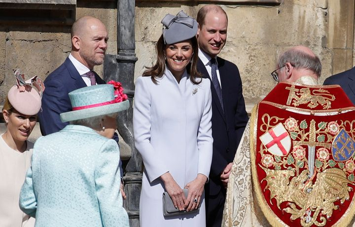 Kate and Will greet Queen Elizabeth II as she arrives for the Easter Sunday service at St George's Chapel on April 21, 2019 in Windsor, England.