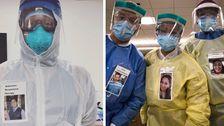 医師の着用写真を自分の笑顔に防護服を安心させCOVID-19患者