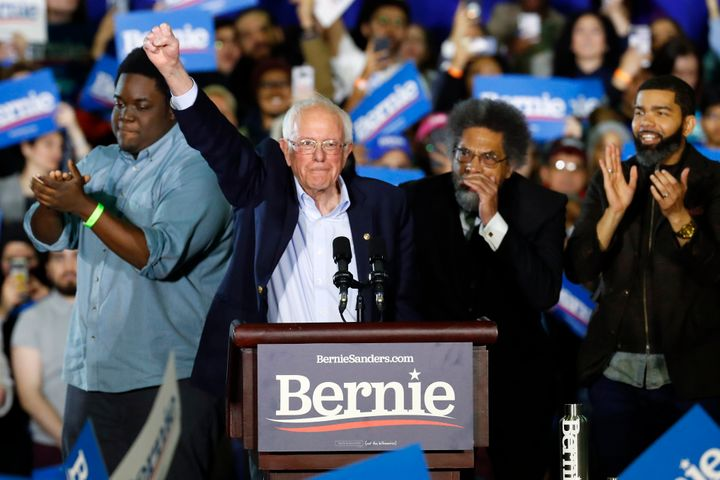 Sen. Bernie Sanders (I-Vt.) waves during a campaign rally in Detroit on March 6.