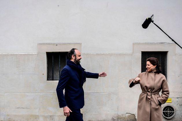 Édouard Philippe et Agnès Buzyn durant la campagne des élections municipales à...
