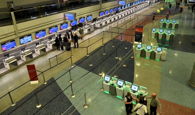 The near-empty check-in area for Delta Air Lines' terminal in Las Vegas last