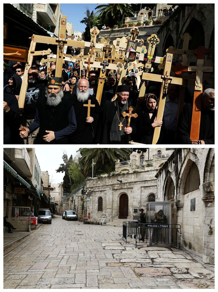 A combination picture shows worshippers carrying wooden crosses during a Good Friday procession along the Via Dolorosa in Jer