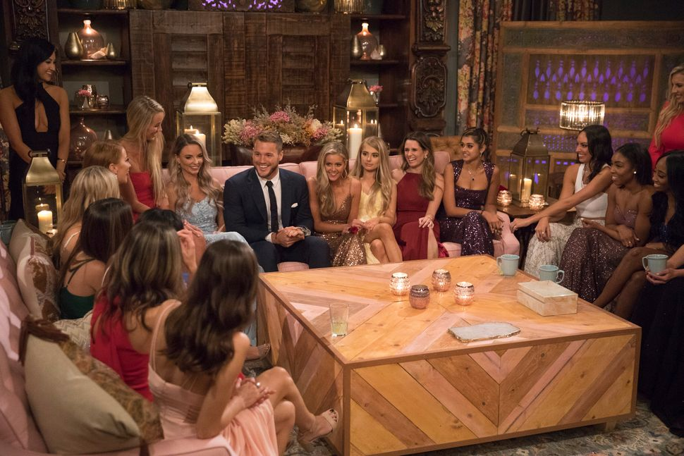 "Underwood hangs out with the women on the first night of his season of ""The Bachelor,"" the series's 23rd season."