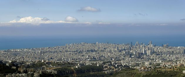 Lebanon's capital Beirut with a clear skyline, on March 21, 2020, as most people stay home during measures...