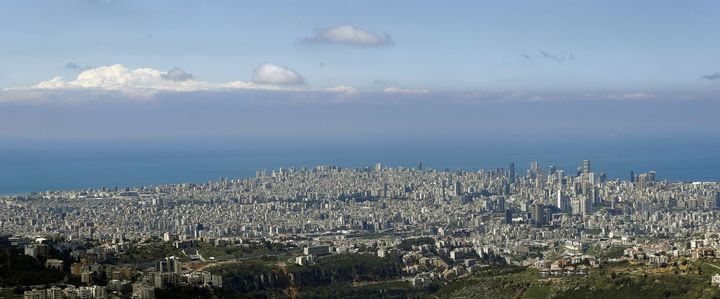 Lebanon's capital Beirut with a clear skyline, on March 21, 2020, as most people stay home during measures to control the spr