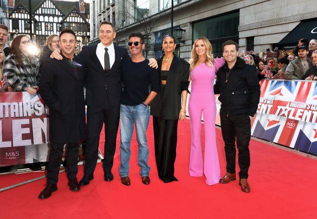 Amanda with BGT's Ant McPartlin, David Walliams Simon Cowell, Alesha Dixon and Dec
