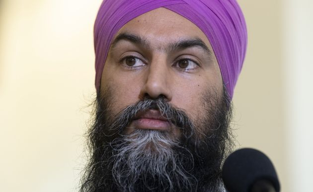 File photo of NDP Leader Jagmeet Singh speaking with media following a caucus meeting in Ottawa on Jan....