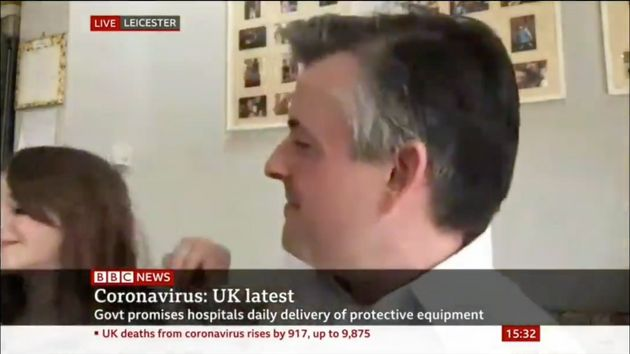Jonathan Ashworth was interrupted by his daughter during an interview on Saturday