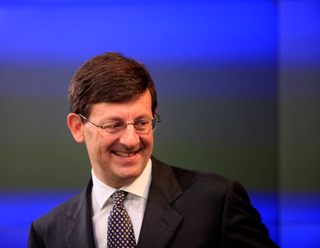 Vittorrio Colao, CEO of Vodafone Group Plc, attends the opening bell ceremony at Nasdaq, Friday, May...