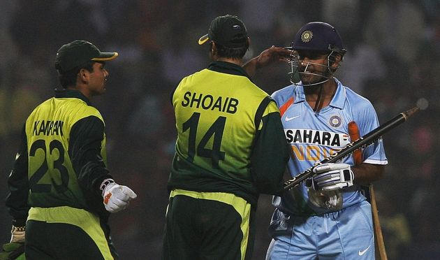 Shoaib Akhtar with Mahendra Singh Dhoni in a file
