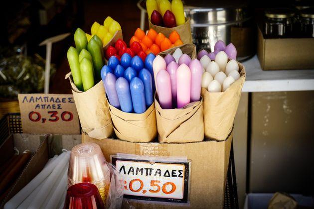 Πασχαλινές λαμπάδες στην αγορά της