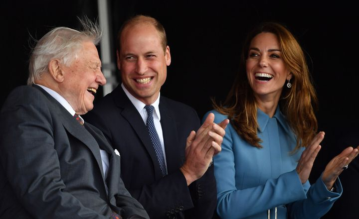 The Duke and Duchess of Cambridge and Sir David Attenborough at the naming ceremony of Britain's new polar research ship, the RRS Sir David Attenborough, in Birkenhead, England, on Sept. 26, 2019.