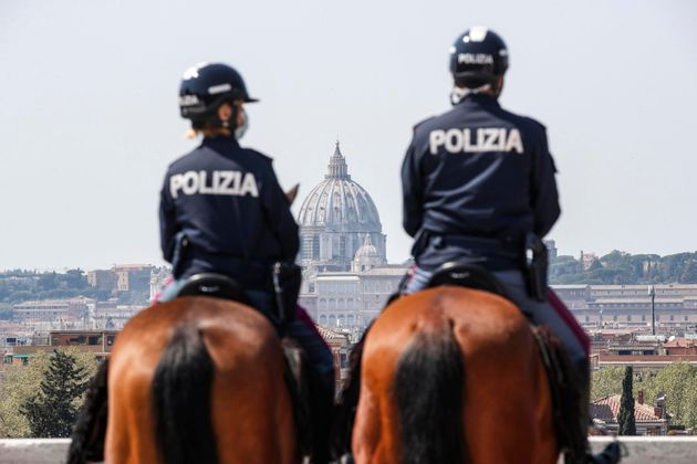 Patrolling Italian Police on horses in Villa Borghese during the COVID-19 coronavirus pandemic, in Rome,...