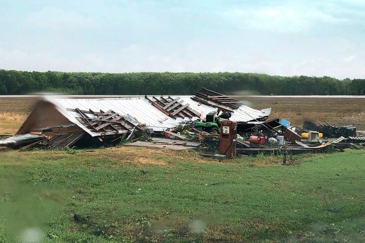 This image made from video provided by WLBT-TV, shows some of the storm damage in Yazoo County, Miss., on Sunday.