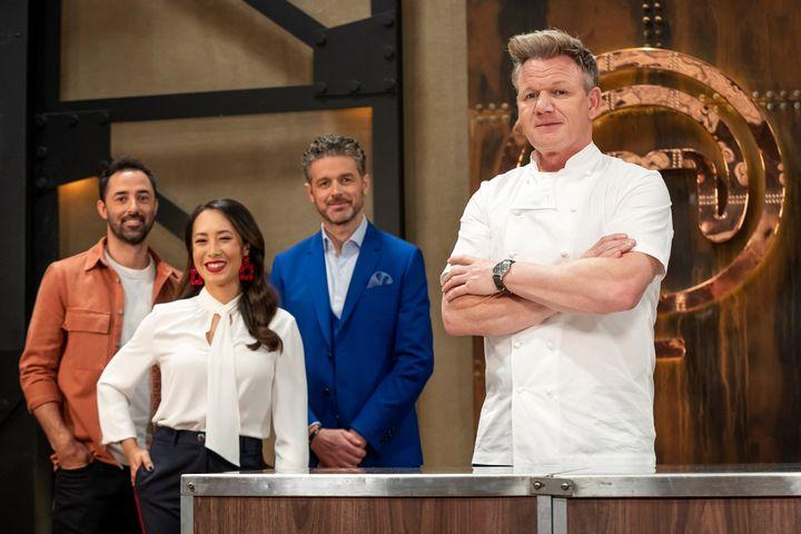 MasterChef Australia 2020 judges Andy Allen, Melissa Leong and Jock Zonfrillo with Gordon Ramsay