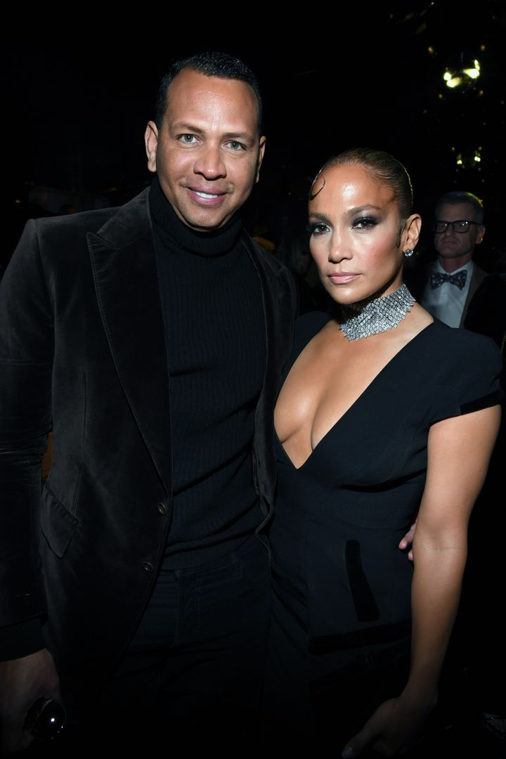 Alex Rodriguez and Jennifer Lopez attend the Tom Ford show in February.