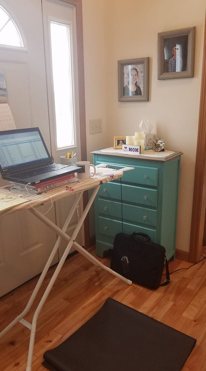 "Human resource professional Jessica Chaloux Hill told HuffPost that her ironing board desk should be height-adjustable, but she hasn't yet ""dared to try it."""
