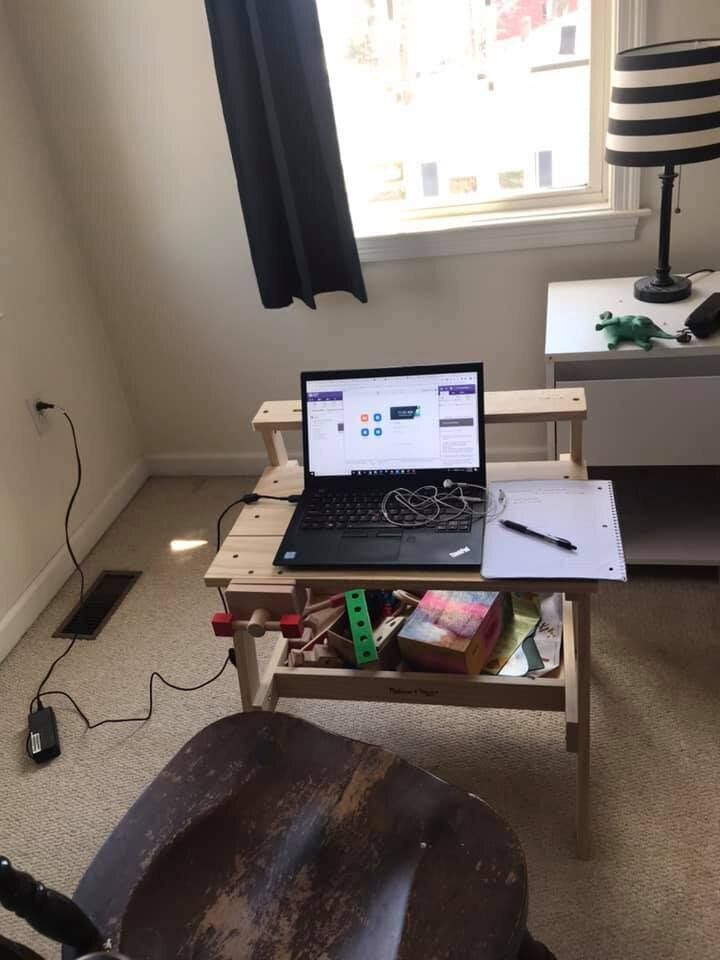 With work space limited, one family got creative with desks out of necessity.