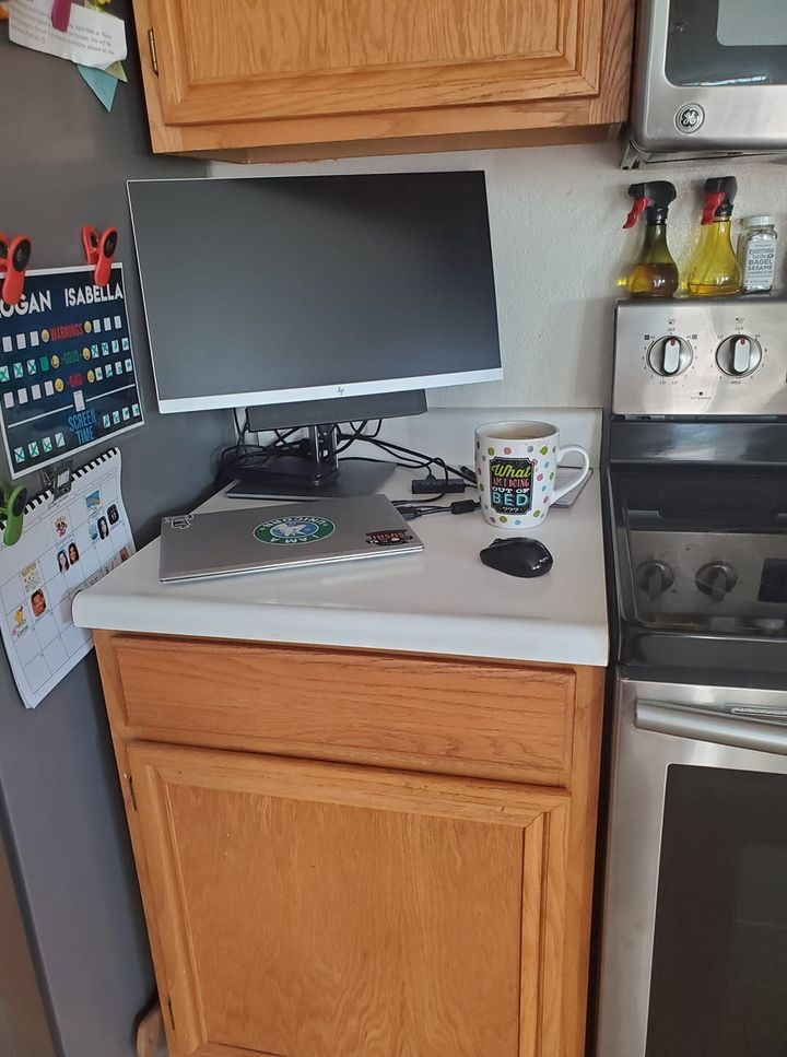 High school teacher Rachel Cresci transformed her kitchen area into her home office.