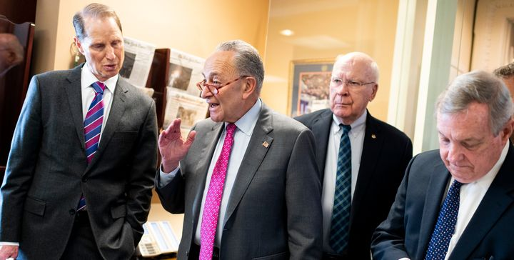 Democratic senators ― including (from left) Ron Wyden (Ore.), Chuck Schumer (N.Y.), Patrick Leahy (Vt.) and Dick Durbin (Ill.