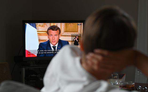 Emmanuel Macron lors de son discours du lundi 13 avril sur les mesures prises pour lutter contre le