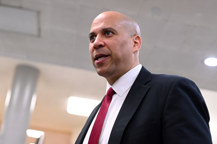 Sen. Cory Booker (D-N.J.) arrives for the fourth day of the Senate impeachment trial of President Donald Trump in Washington,