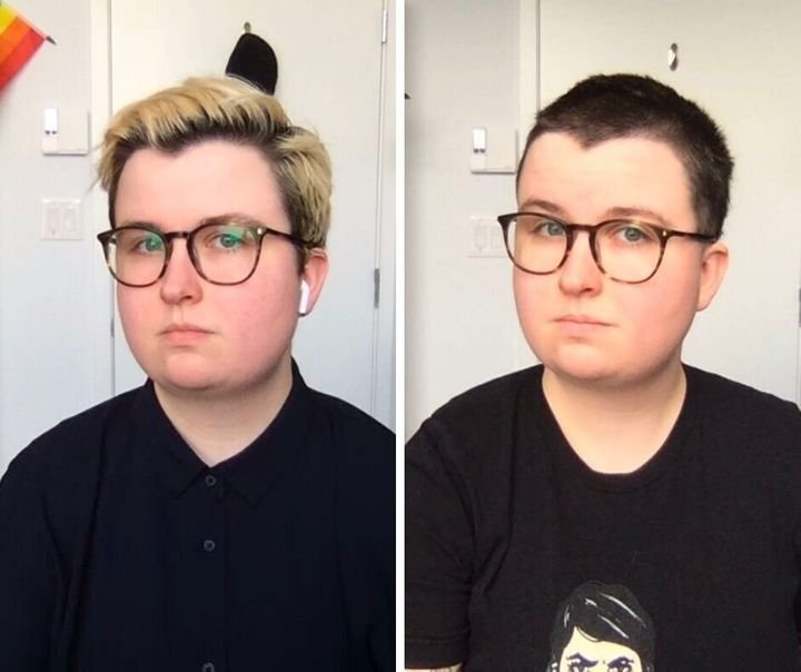 The author pre- and post-buzz cut.