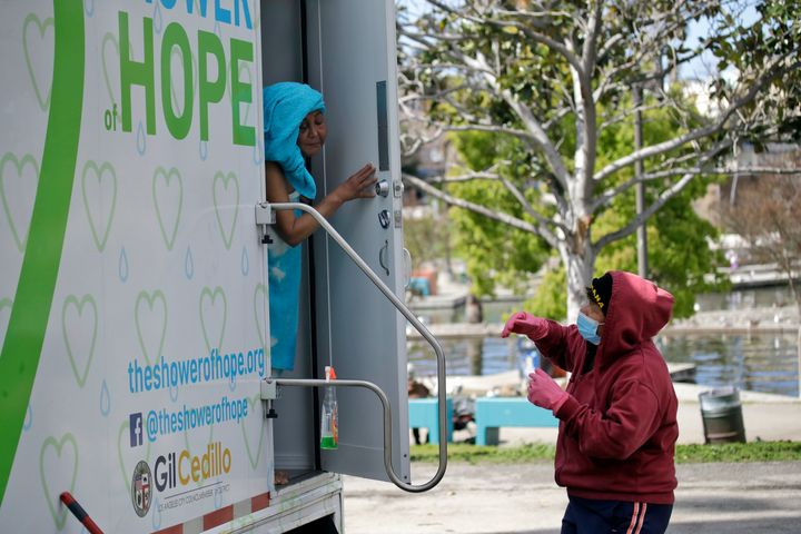 The nonprofit Shower of Hope provides mobile showers around Los Angeles that people experiencing homelessness can use.