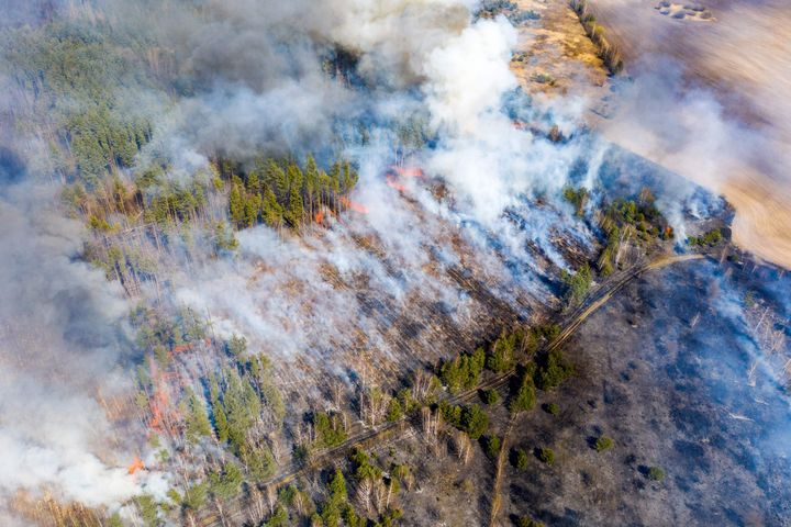This aerial picture taken on April 12, 2020 shows a forest fire burning at a 30-kilometer (19-mile) Chernobyl exclusion zone