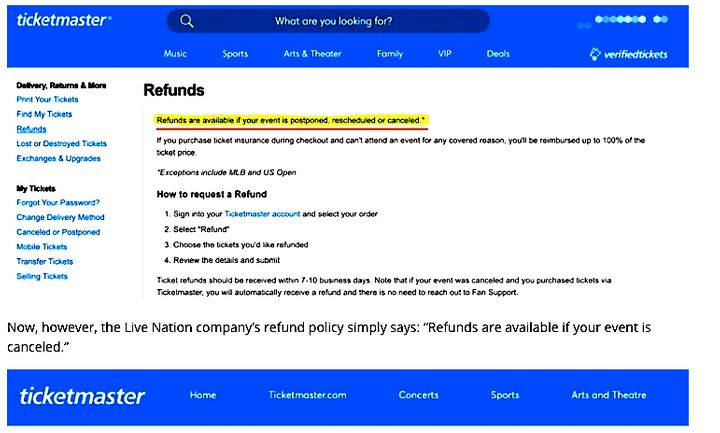 Ticketmaster's original refund policy, which offered refunds to customers whose events were postponed, rescheduled or cancele