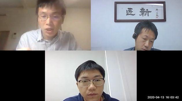 取材は東京と上海をZoomでつないで行われた。