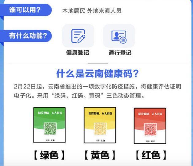 雲南省の健康コード
