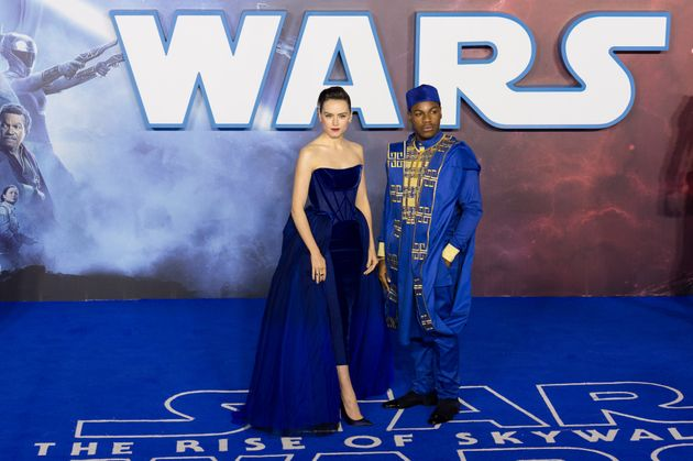 Daisy and co-star John Boyega at the European premiere of Star Wars: Episode