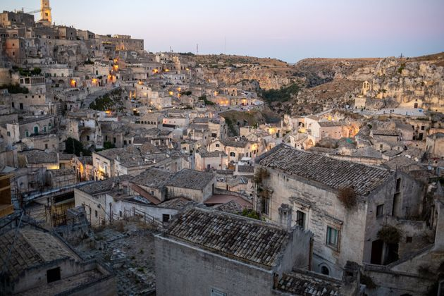 View of the Sassi di Matera a historic district in the city of Matera, well-known for their ancient cave...