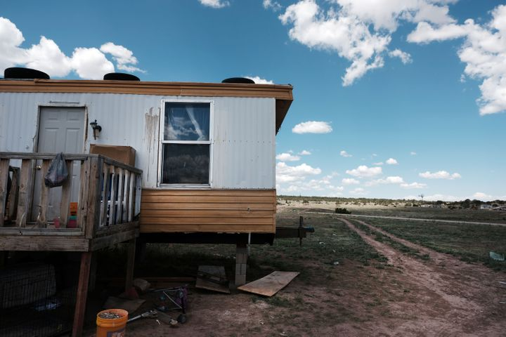 A trailer stands on land belonging to members of the Navajo Nation in Thoreau, New Mexico on June 06, 2019. Due to a legacy o