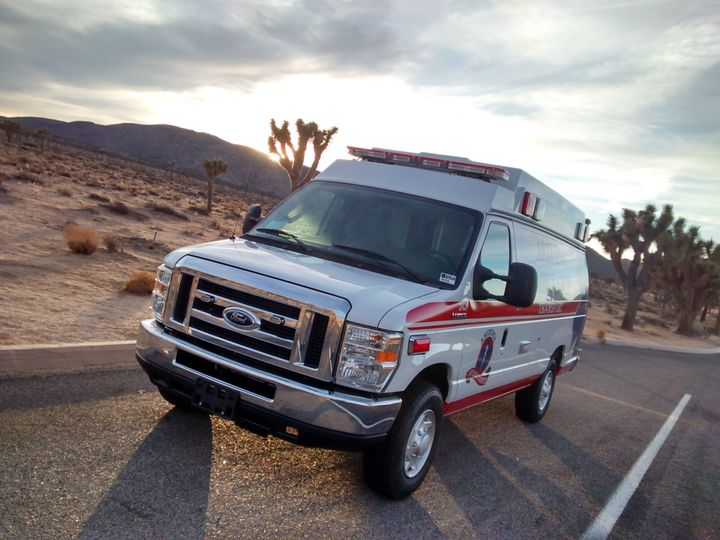 Paramedic Ryan Hilliard showcases the ambulance he uses in Sierra Vista, Arizona.