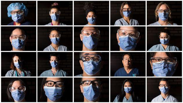 Front line workers from top left: clinical nurse lead Rubina Khan; registered nurses Krista Fyffe, Niloofar...