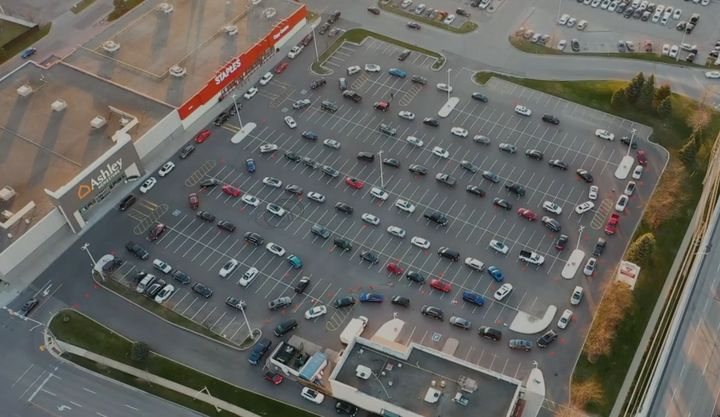 The lineup for Krispy Kremes in Mississauga, Ont.