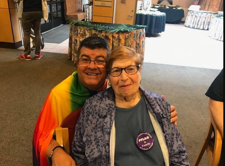 LGBT activist Anne Quashen, right,  seen here celebrating shortly before the 2019 Queens Pride Parade kick-off in Jackson Hei