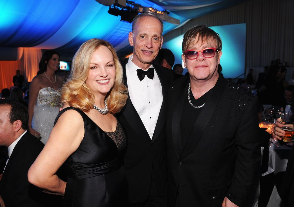 Patty Hearst, John Waters and Elton John at the annual Elton John AIDS Foundation Oscar viewing party in 2012.