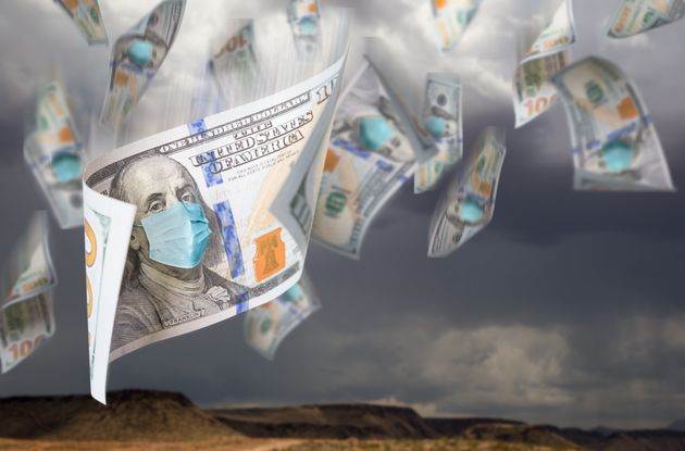 100 Dollar Bills with Face Mask Falling From Stormy Cloudy